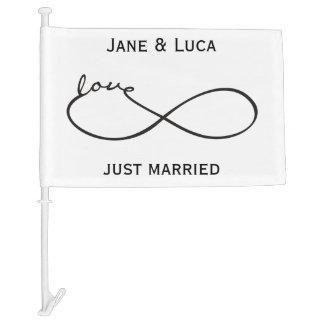 Infinity Love Lemniscate black + your backgr. Car Flag