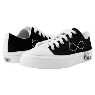 Infinity Love Lemniscate white + your backgr. Printed Shoes