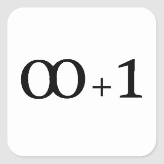 infinity plus one square sticker