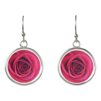 Infinity Red Rose Earrings