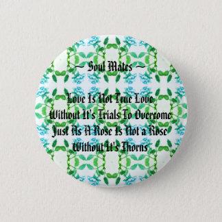 Infinity Rose / Soul Mates - Blue & Green 6 Cm Round Badge