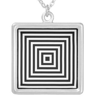 Infinity Squares Black & White Optical Illusion Silver Plated Necklace