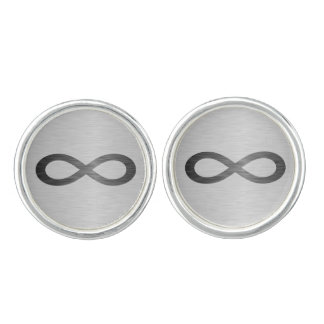 Infinity Symbol On Brushed Metal Texture Cufflinks
