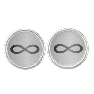 Infinity Symbol On Brushed Metal Texture Cufflinks