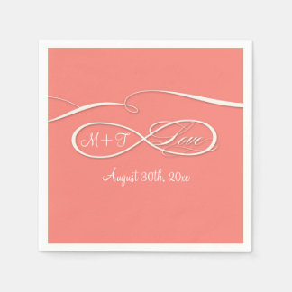 Infinity Symbol Sign Infinite Love Wedding Coral Paper Napkins
