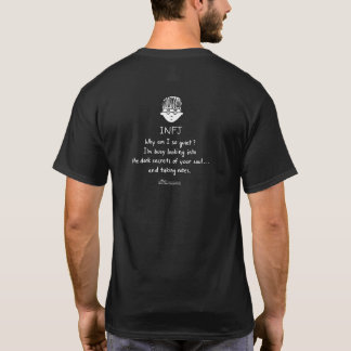 INFJ Taking Notes Men's Black T (Design on Back) T-Shirt
