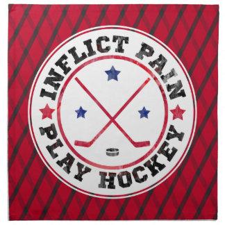 Inflict Pain, Play Hockey Serviette Cloth Napkin