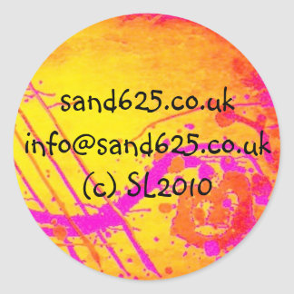 information sticker- hot pink abstract design classic round sticker