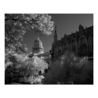 Infra red of Capitol building dome in Havana Poster
