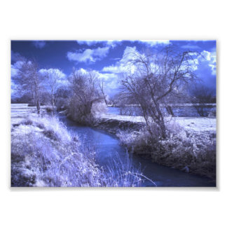 Infrared landscape with stream in blue photo print