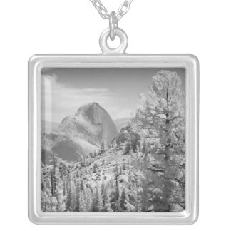 Infrared photo in East side of Yosemite National 2 Square Pendant Necklace