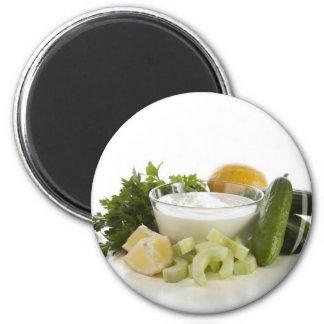 Ingredients for Fresh Cucumber Yogurt Soup Magnet