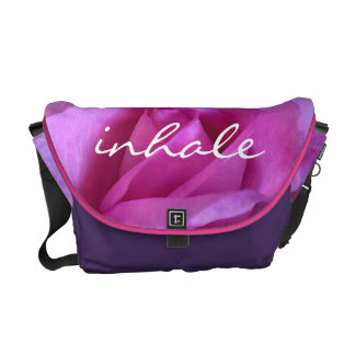 """Inhale"" bright pink rose photo messenger bag"