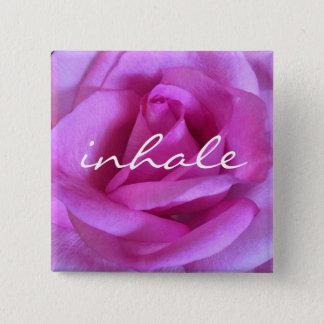 """Inhale"" quote giant bright purple pink rose photo 15 Cm Square Badge"
