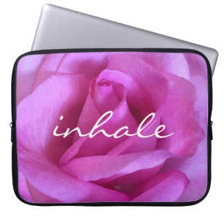 """Inhale"" Quote Hot Purple Pink Rose Close-up Photo Laptop Sleeve"