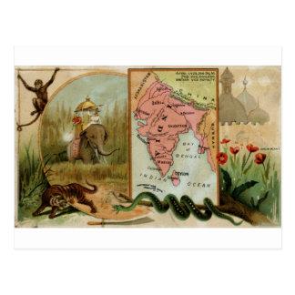 Inida, 1889 vintage card postcards