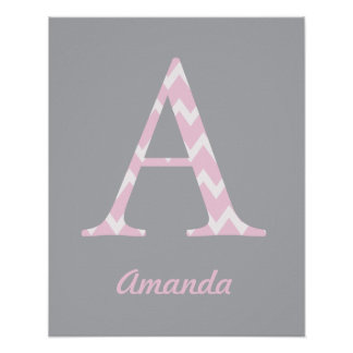 """Initial """"A"""" Personalised Chevron Pink Baby Name Poster"""