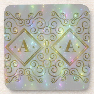 initial a sparkle beverage coasters