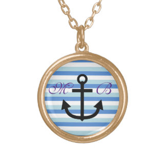 Initial Anchor Gold Finish Necklace