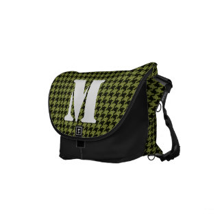 Initial:  Army Green and Black Houndstooth Pattern Courier Bags