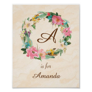 Initial Baby Name Monogram Art Print