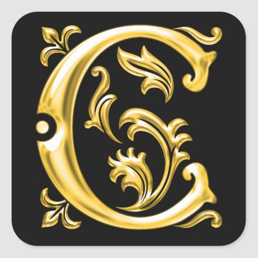 Initial C Capital Letter Sticker in Gold