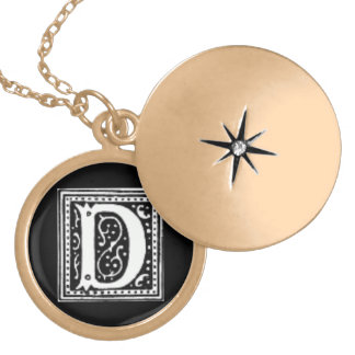 Initial D Medium Gold Plated Round Locket