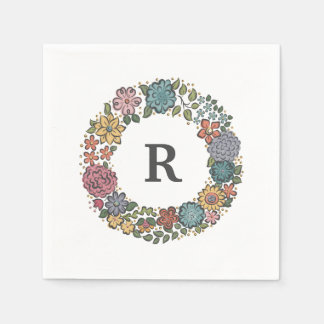 Initial Flower Wreath paper napkins