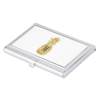 initial golden pineapple business card holder