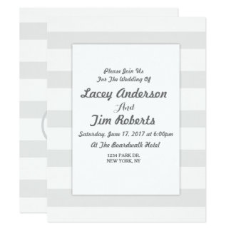 Initial Grey and White Stripe  Wedding Invitation