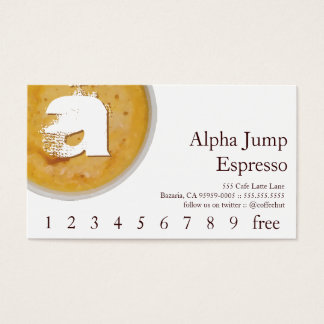 Initial in Foamy Coffee Cup Loyalty Punch Card