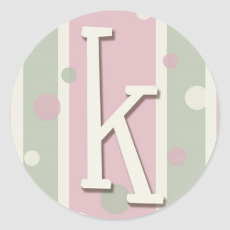Initial K for girls Round Sticker