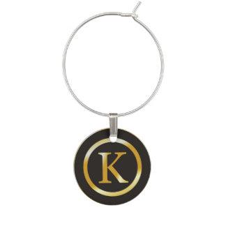 Initial K Gold Monogram Wine Charm