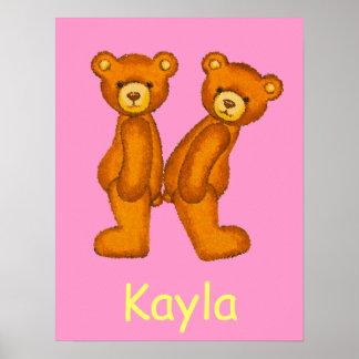 Initial K~Teddy Bear Alphabet Letter~Custom Name Poster