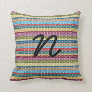 Initial knitted cushion