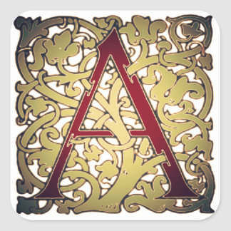 Initial Letter A Square Sticker