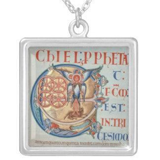 Initial Letter 'E' Et factum est Silver Plated Necklace