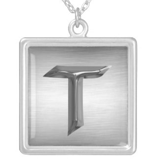 """Initial Letter """"T"""" Silver Necklace"""