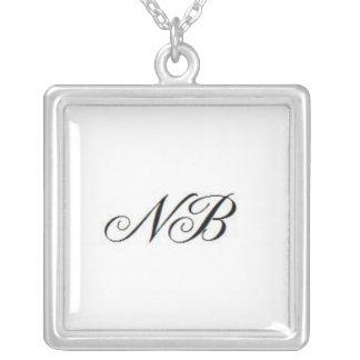 Initial logo square pendant necklace