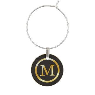 Initial M Gold Monogram Wine Charm