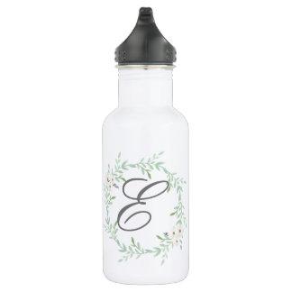 initial monogram floral wreath bottle