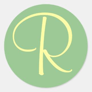 Initial Monogram R Green Cream Sti... - Customized Classic Round Sticker