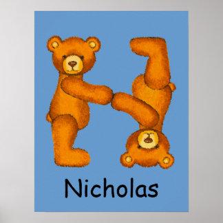 Initial N ~Teddy Bear Alphabet Letter~Custom Name Poster