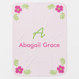 Initial Name Floral Baby Blanket