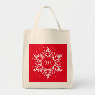 Initial New Year Snowflake Grocery Tote Bag