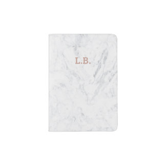 Initial passport rose gold typography white marble passport holder
