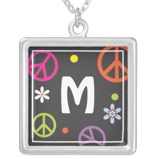 Initial Peace Sign Necklace
