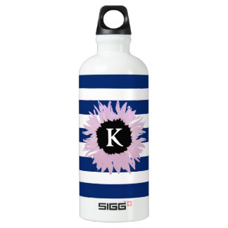 Initial Pink Flower Water Bottle
