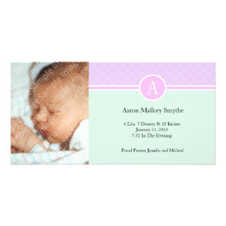 Initial Pink Green Girl New Baby Birth Photo Cards
