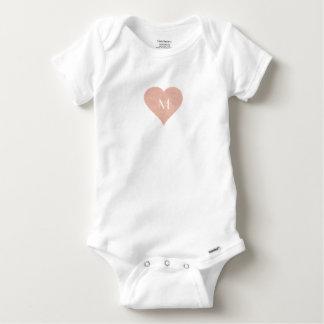 Initial Pink Heart Baby Custom Letter Monogram Baby Onesie